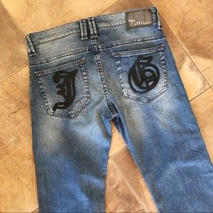 John Galliano Jeans Leather Logo Detail Girls XL